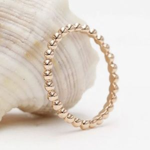 14kt Rose Gold Bead Band Sz 7 New